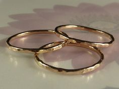 14K Rose Gold stacking rings by DeafCatStudios on Etsy, $62.00