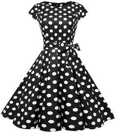 54a372321249 Amazon.com: Women Dresses,1950s Sleeveless Vintage Prom Dress Polka Dot  Cocktail Party