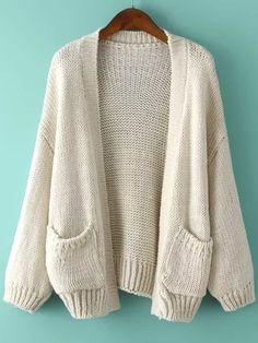 Cardigan avec poches tricoté - Abricot 23.68