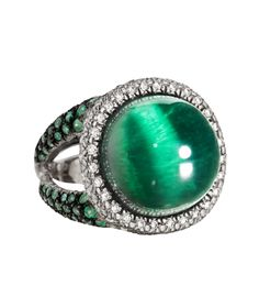 Faraone Mennella: white gold cat's eye, green tourmaline, emerald and diamond pave ring: Jewelry Box, Jewelery, Fine Jewelry, Women Jewelry, Jewellery Rings, Tourmaline Jewelry, Green Tourmaline, Emerald Earrings, Emerald Jewelry