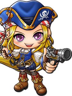 Pirate - MapleWiki - the free MapleStory database anyone can edit Game Character, Character Design, Funny Yugioh Cards, Maplestory 2, Pirate Art, Chibi Girl, Cute Chibi, Anime Fantasy, Fantastic Art