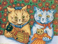 louis wain cats with cat dolls illustration art painting pets animal schizophrenia Trippy Cat, Louis Wain Cats, Psychadelic Art, Son Chat, Photo Chat, Art And Illustration, Cat Illustrations, Cat Doll, Vintage Cat