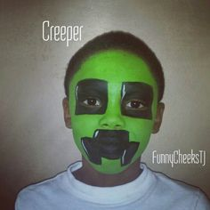 Creeper Minecraft birthday face painting by FunnyCheeksTJ
