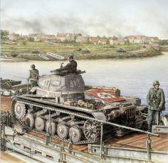 A German Pzkw IIc light tank crosses an engineer-built bridge over the Meuse river, during their invasion of France in May of 1940.