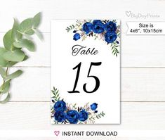 Free Printable Cards, Printable Numbers, Printables, Free Invitation Templates, Blue Wedding Invitations, Online Print Shop, Wedding Table Numbers, Wedding Images, Wedding Ideas