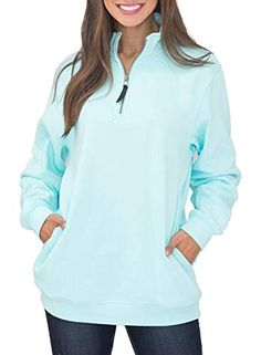 Women Light-blue Stand Collar Half-zip Casual Sweatshirt - S Korean Outfits, Korean Clothes, Athletic Fashion, Plus Size Women, Sweatshirts, Hoodies, Clothes For Women, Casual, Long Sleeve