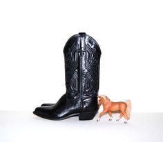 Vintage Boots Black Western by CheekyVintageCloset on Etsy, $74.00