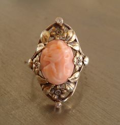 Antique Coral Cameo and Diamond Ring from 1912 by AntiqueSparkle, $585.00