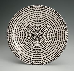EveryDay with Rachael Ray Black and White Plate with Hand Painted Vertigo Spiral Dots