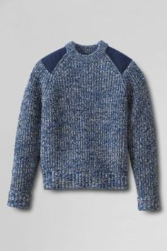 Men's Fisherman Shaker Crewneck Sweater wool - patches are cotton