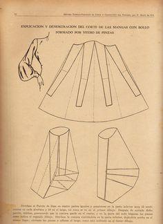explicación y demostración del corte de las mangas con bollo formado por medio de pinzas