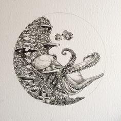 69 trendy line art tattoo ocean Sea Drawing, Octopus Drawing, Octopus Art, Fish Drawings, Drawing Sketches, Art Drawings, Octopus Tentacles, Drawing Art, Octopus Sketch