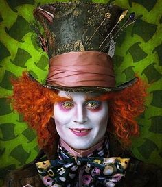 """The Mad Hatter (Johnny Depp). Special effects make up. From """"Alice in Wonderland"""" (2010) A Tim Burton Film."""