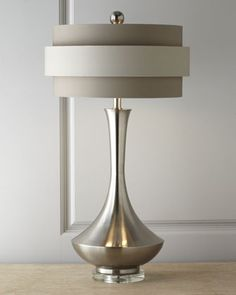 These are the lamps I want. Neutral Orbit-Shade Table Lamp by John-Richard Collection at Neiman Marcus.