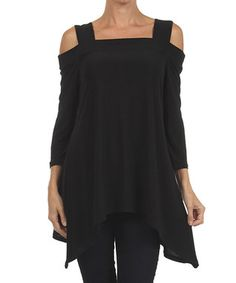 Black Cutout Sidetail Tunic