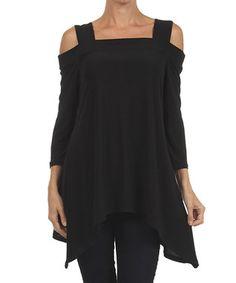 Black Cutout Sidetail Tunic