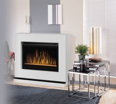 Atlantis White Wall or Corner Electric Fireplace with Glass Embers - BSPC-3033G- - contemporary - Fireplaces - Other Metro - Electric Fireplaces Direct