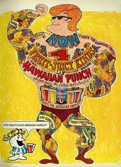 """1966 Illustrated Ad, Hawaiian Punch, """"Tattoo Man"""""""