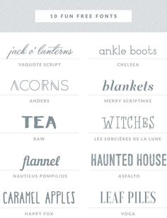 10 free fonts, a great variety!