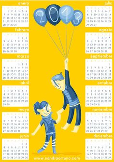 Printable calendar in Spanish, Catalan and English by Sandra Ortuño. Happy New Year! <3