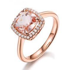 $439 Cushion Morganite Engagement Ring Pave Diamond Wedding 14K Rose Gold 7mm