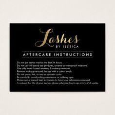Eyelashes with gold glitter salon aftercare card pinterest glam lashes script text lash salon aftercare card reheart Image collections
