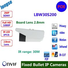 63.00$  Watch here - http://alibvc.shopchina.info/go.php?t=32710622990 - Board Lens 2.8mm  Outdoor IP camera 1080P Full HD Onvif P2P Plug And Play IR-Bullet Camera 2MP Waterproof IP Camera  #shopstyle
