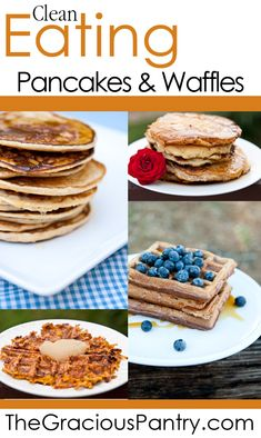 Clean Eating Waffles And Pancake Recipes Collection Clean Eating Waffles, Healthy Waffles, Healthy Treats, Healthy Food, Waffle Recipes, Pancake Recipes, Breakfast Recipes, Sin Gluten, Real Food Recipes