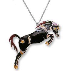 Black Stallion Necklace | Enamel Black Stallion Necklace | Zarah Jewelry