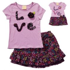 """Dolly and me! Fun and flouncy, the  tee features an adorable ruffled """"love"""" applique, and fabulous floral skirt. Don't forget about the matching doll outfit that lets your little one dress up just like her best pal!"""