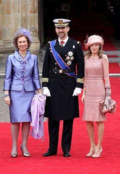 Rainha Sofia, príncipe herdeiro Felipe e Letizia de Astúrias