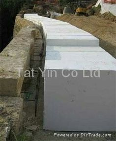 EPS foam to reduce the weight behind retaining walls.