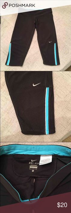 Nike Running Capris New never worn, these come right below the knee and are size small. Zippered pocket in back. No flaws.   Lots of Victoria Secret, Pink, Nike, Under Armour, Lululemon, Patagonia, Miss Me, and other Buckle items to list. Follow me to check out the great deals. I'm always happy to bundle.   All items are from a clean non smoking home. Nike Shorts