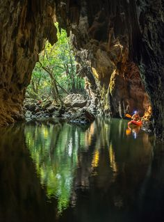 Hidden Cave in Laos by John SpiesTham Khoun Xe, more commonly known as Xe Bang Fai River Cave, in Laos, has over 15 km of passages filled with breathtaking views and vast expanses of water. Photographer John Spies captured scenes from the entrance. Laos, Beautiful World, Beautiful Places, Places To Travel, Places To Visit, Underground Caves, Destinations, Some Beautiful Pictures, No Name