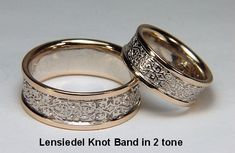 Celtic Lensiedel Knot Wedding Band Set- Shown in 14kt White Gold with 14kt Yellow Gold Rails-All Metal Combinations Available