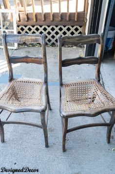 Using a little imagination, these can become some awesome repurposed wood chairs. by DeDe Bailey Wooden Chair Makeover, Chair Redo, Diy Chair, Chair Bench, Antique Wooden Chairs, Vintage Chairs, Wicker Dining Chairs, Old Chairs, Black Chairs