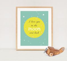 I love you to the MOON and back  3 colors  nursery by LillyLaManch