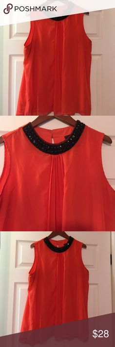 BEAUTIFUL ORANGE TOP WITH BLACK SEQUIN TOP Great Condition CARSON KRESSLEY Tops