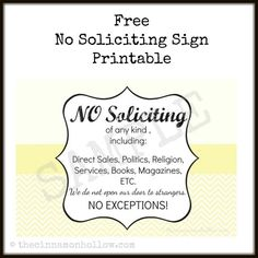This is the time of year that solicitors seem to come knocking on my door and it drives me crazy, so I created a free printable no soliciting sign.