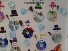 24 Ideias de Mural para Inverno - Educação Infantil - Aluno On Christmas Ornament Crafts, Snowman Crafts, Christmas Crafts For Kids, Felt Ornaments, Winter Christmas, Diy Crafts With Cds, Kids Crafts, Preschool Crafts, Navidad Diy