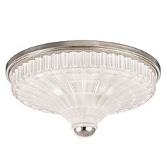 Close To Ceiling Lights   Hudson Valley Lighting Paris 3Light Flush Mount  Polished Nickel Finish with Etched CrystalFrosted Glass Shade *** Find similar products by clicking the image