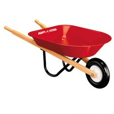 """Ages 3-6.  Children love to help move heavy things and can help with moving leaves, mulch, soil and firewood using this handy wheelbarrow.  11"""" high.  Radio Flyer Child-Size Wheelbarrow - ForSmallHands.com"""