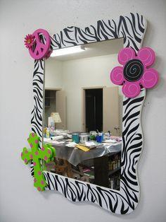 Mirror Funky Wall Decor Custom Zebra but im thinking cheetah Girl Room, My Room, Girls Bedroom, Bedroom Decor, Wall Decor, Bedroom Ideas, Bedrooms, Zebra Print Bedroom, French Doors Bedroom
