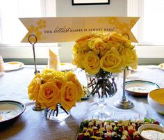 Yellow Rose Centerpieces at the Gray & Yellow Baby Shower