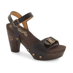 """Flogg 'Fantastic' Stud Platform Sandal, 4"""" heel ($125) ❤ liked on Polyvore featuring shoes, sandals, black vachetta, black sandals, strappy platform sandals, black chunky sandals, chunky-heel sandals and black strappy sandals"""