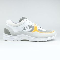 sports shoes 30629 ae925 Chanel CC Logo White Orange Sneaker