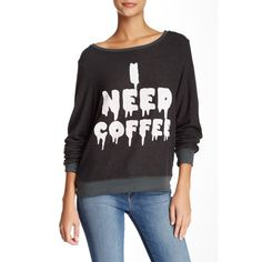 WILDFOX I Need Coffee Baggy Beach Jumper (€45) ❤ liked on Polyvore featuring tops, sweaters, vintage black, wildfox jumper, black top, black crew neck sweater, black long sleeve jumper and long sleeve jumper