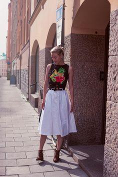 Zanita X Pimkie tee, HM skirt, Senso boots