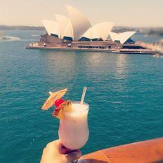 Pina Colada + views of Sydney Opera House + Carnival Spirit cruise ship = AMAZING!
