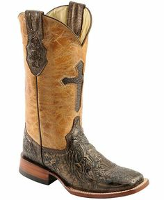 e551f4ed92d1a Ferrini Embossed Cross Inlay Cowgirl Boots - Wide Square Toe